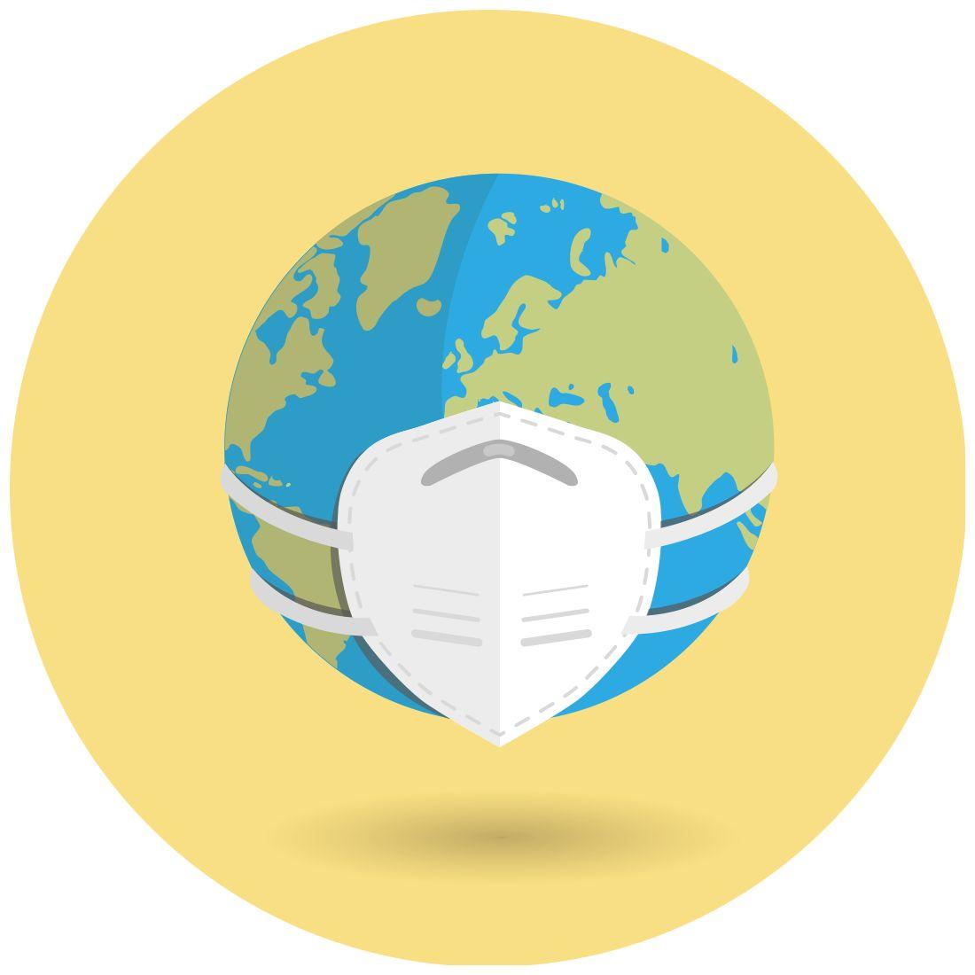 Wereldbol met mondkapje op